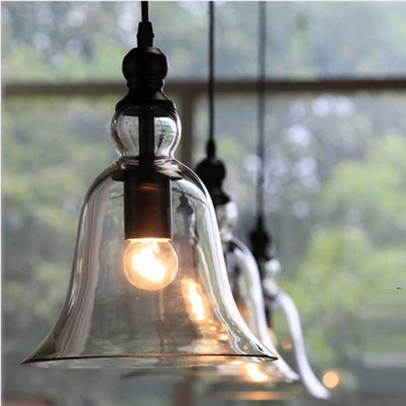 Retro Industrial Style Bell Shape Glass Pendant Ceiling Lamp Bedroom Living Room Restaurant Cafe E27 Hanging Light YHJ011508