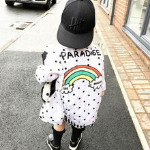 Rainbow letter coat Toddler Kids Baby Clothes Girl Boy Polka Dot Tops Outerwear Coat Jacket white INS Super hot HIgh Street 2-7T