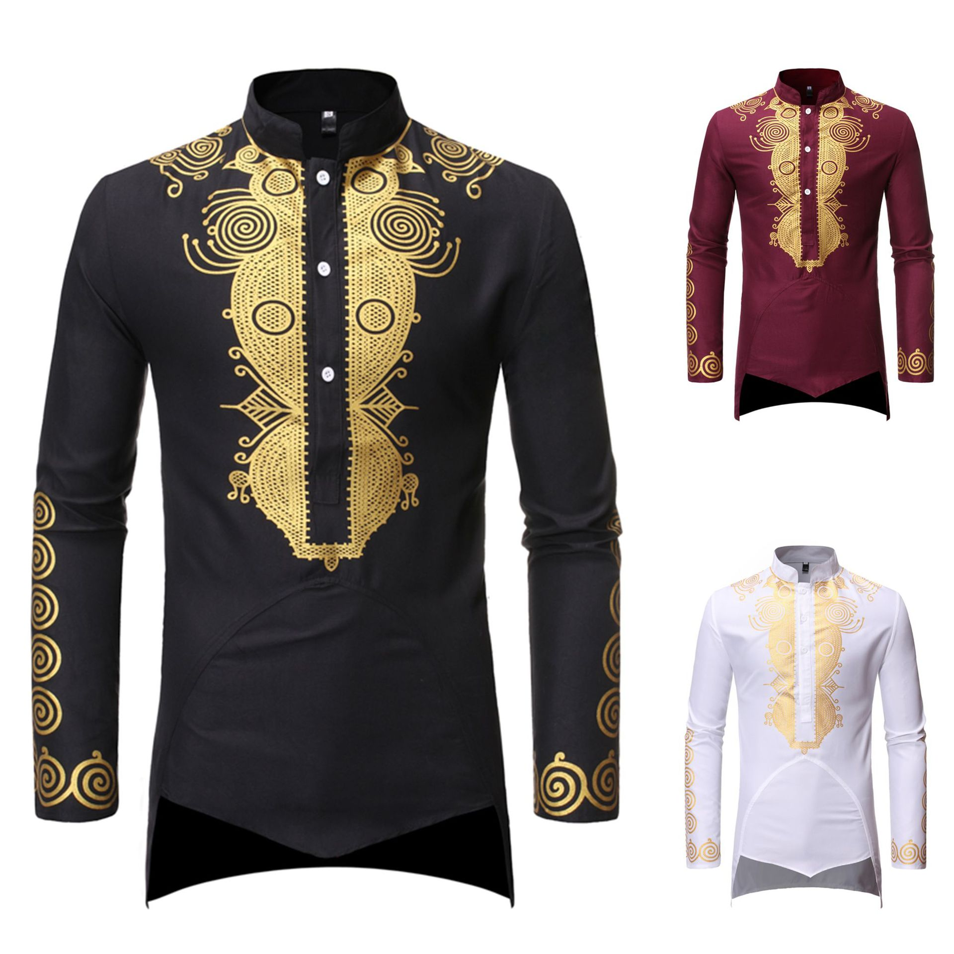 Muslim Men Shirt Islamic Clothes Print Stand Color Tops Kurta National Printed Long Sleeve Shirts Male Folk Hip Hop Streetwear