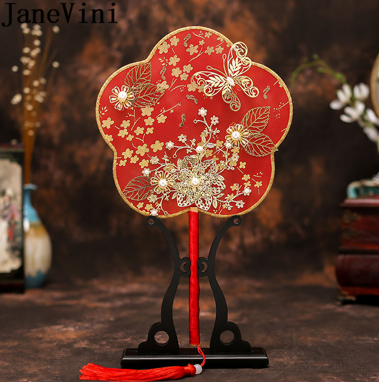 JaneVini Vintage Red Bride Fan Pearls Gold Butterfly Leaf Flowers Chinese Classic Pageant Wedding Brooch Bridal Fan Bouquet 2020