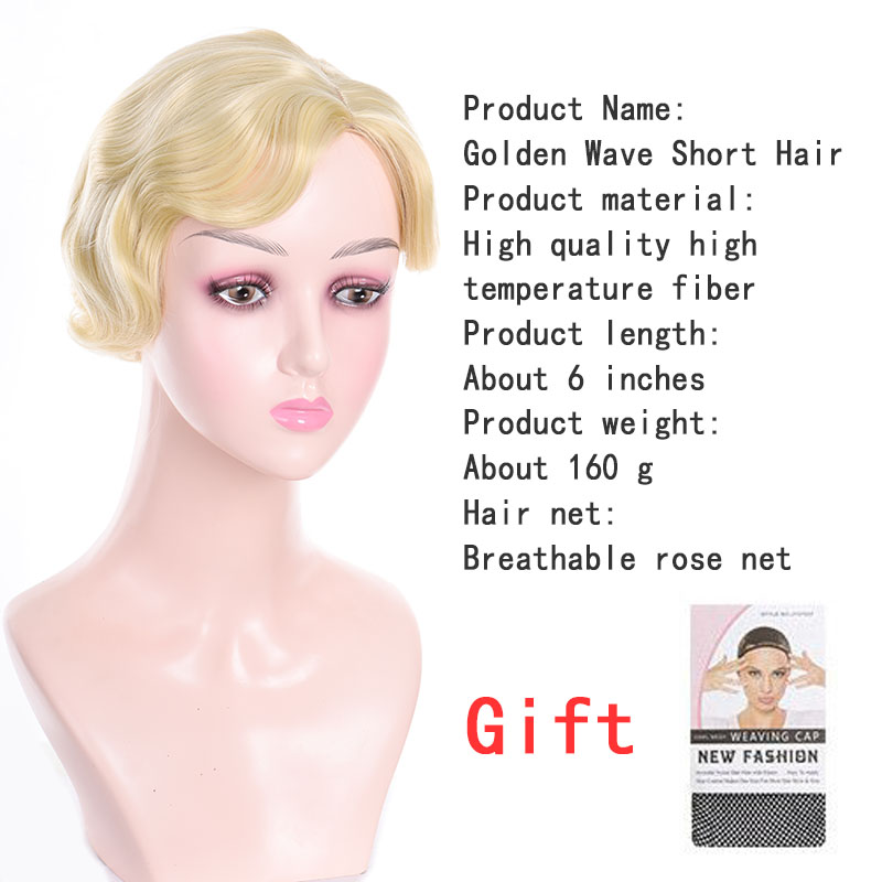 WEILAI Short Blonde Curls Short Hair Wigs For Women Bob Wig Short Ocean Wave Wigs Natural Finger Wave Hairline Wig