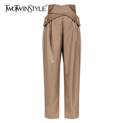 TWOTWINSTYLE Casual Irregular Trousers For Women High Waist Lace Up Button Straight Slim Pants Female Autumn Fashion New 2020