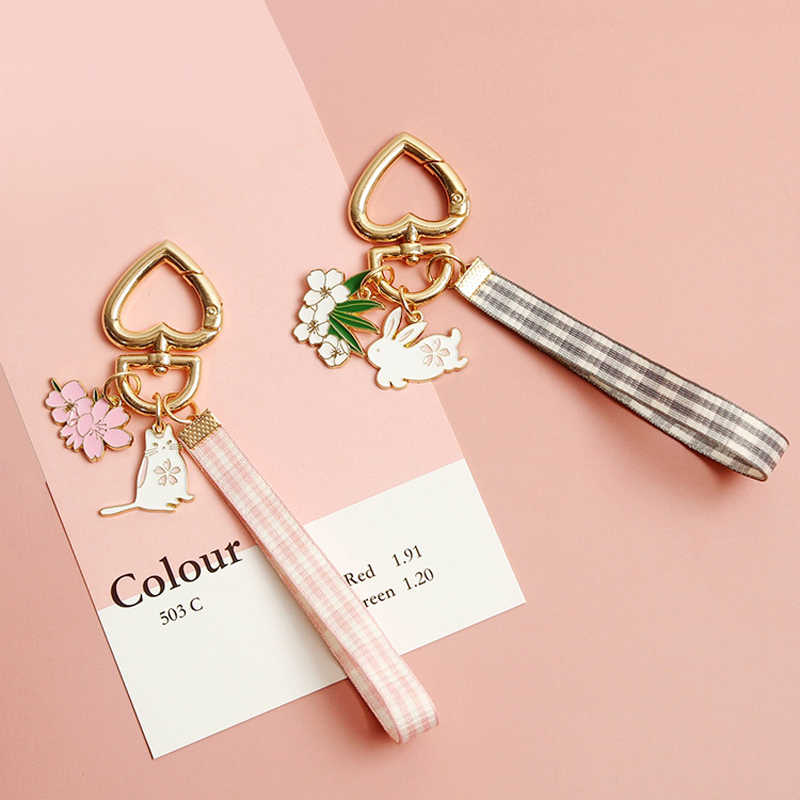 Dayoff Lovely Ribbon Rabbit Cat Keychain Keyring For Women Girl Jewelry Animal Pet Flower Cute Bag Car Key Holder Keyring K99