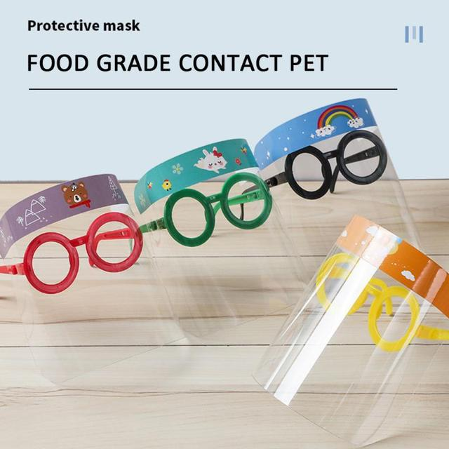 New Child Protective Face Mask+Glasses Cute Cartoon Anti-fog Dust-proof Anti-spatter Waterproof Safety Full Facial Cover Shield