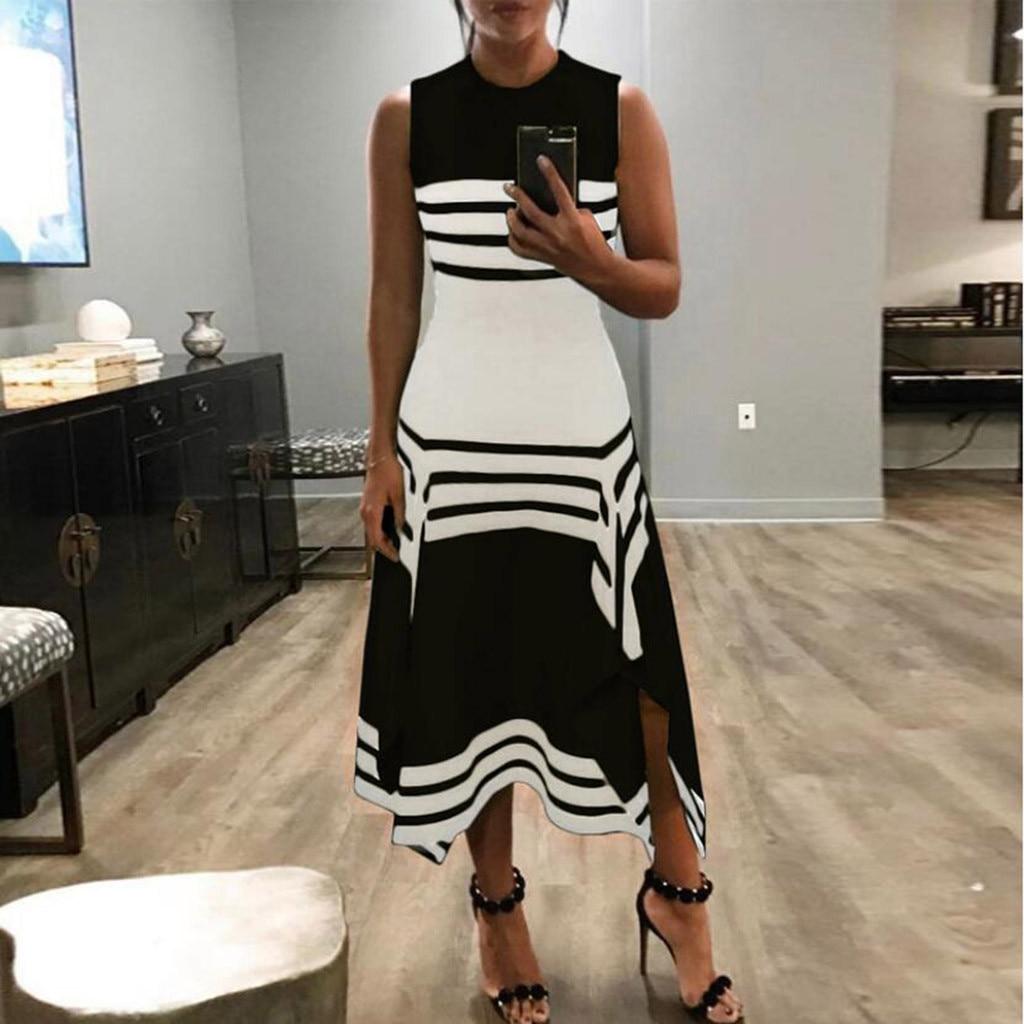 Bohemian Stripe Dress Women Sleeveless Asymmetrical Hem Splicing Color Vintage Dress Women Casual Long Dress Kleider Damen
