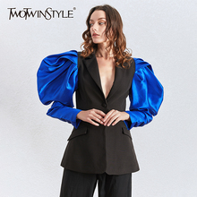 TWOTWINSTYLE Patchwork Hit Color Women's Blazers Puff Long Sleeve Notched Ruched