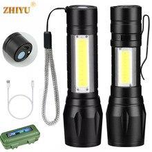 Portátil mini lanterna led xpe cob lanterna com 3 modos de zoom recarregável lanterna luz acampamento à prova dwaterproof água