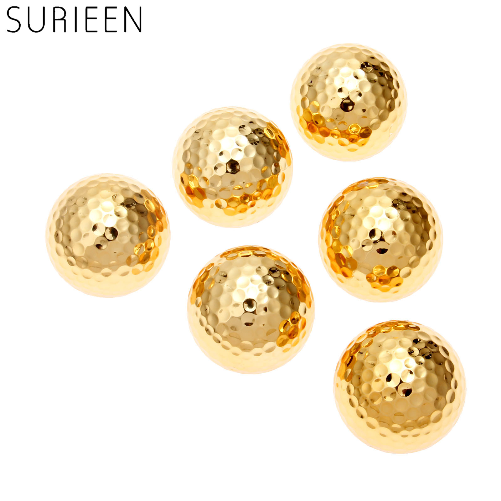 6 Pcs/lot Two Layer Golden Golf Balls Golf Practice Balls Golfer Training Gift Ball 42.67mm Indoor & Outdoor Sports Balls Games