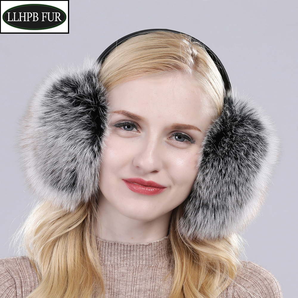 2020 Women Winter Warm Fluffy Natural Real Fox Fur Earmuffs Genuine Fox Fur EarMuff Girls Outdoor Windproof Real Fox Fur Ear-cap