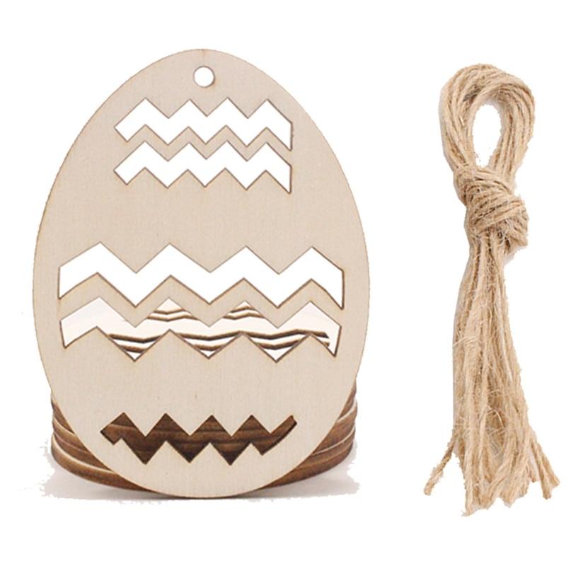 60 шт./компл. подвеска «сделай сам» в виде деревянных яиц, украшение на Пасху 87HA
