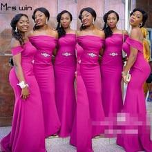 Mrs win Bridesmaid Dresses Under 50 Elegant Off Shoulder Vestido Madrinha For Girls Long Women Wedding Party Dress Mermaid HR069