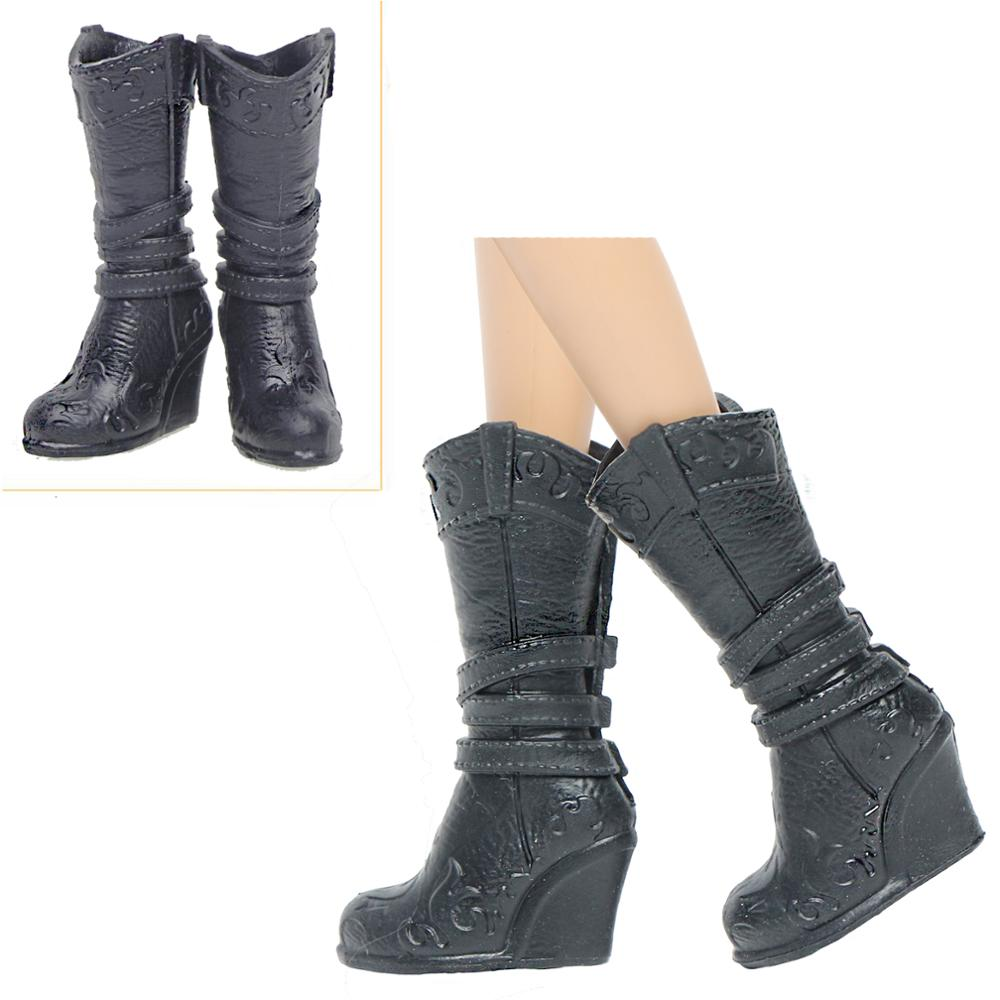 High Quality Black Shoes High Heels Wedge Sandals Boots Daily Casual Wear Accessories Clothes For Barbie Doll Baby Girl DIY Toy