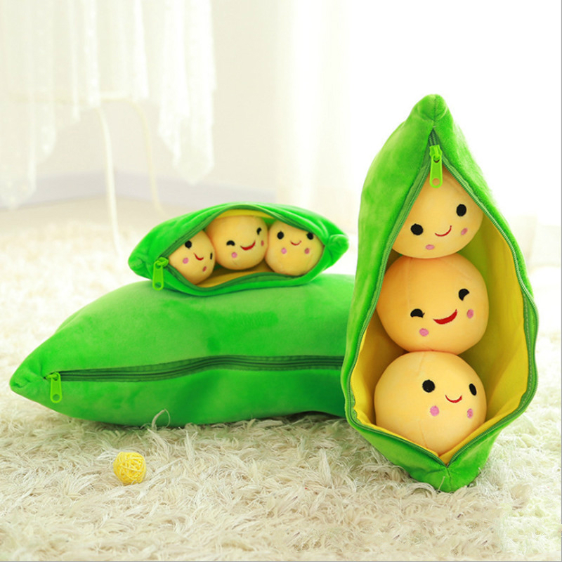 25CM Cute Plush Toys Pods Pea Shape Soft Stuffed Dolls Pea Shape Plant Doll Pillow Toy Boys Girls Gift Fun Toys For Kids Gift