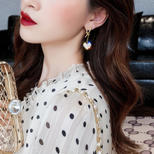 The New Snow Water Crystal Earrings Contracted Style Restoring Ancient Ways Multicolor Metal Women Drop