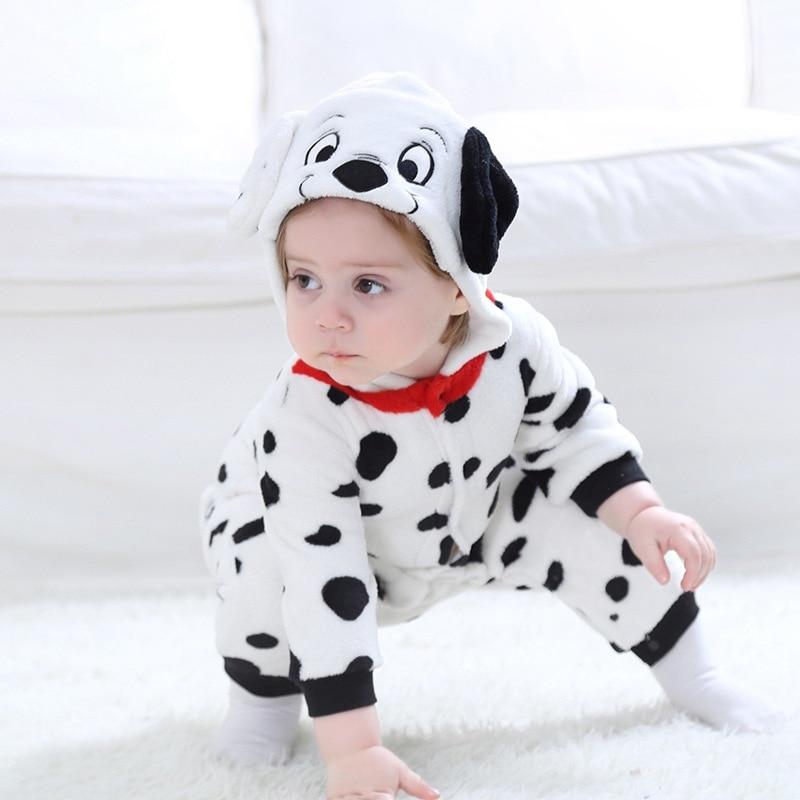 Dalmatiner Cosplay Kostüm Für Baby Kind Winter Geschenk Tier Kigurumis Homewear Zipper Overall Mädchen Kawaii Welpen Hund Pyjamas