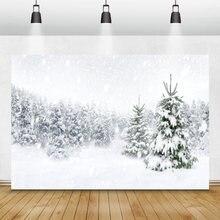 Laeacco фотография с Зимним Пейзажем белый снег лес сосновые