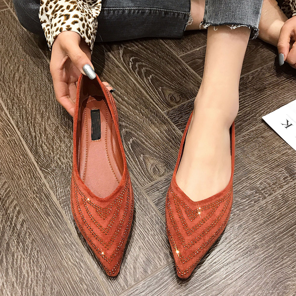 2020 Spring/Autumn Sexy Flock Black Women Ballet Flats Pointed Toe Bling Women Single Shoes For Office Ladies Work Shoes Loafers