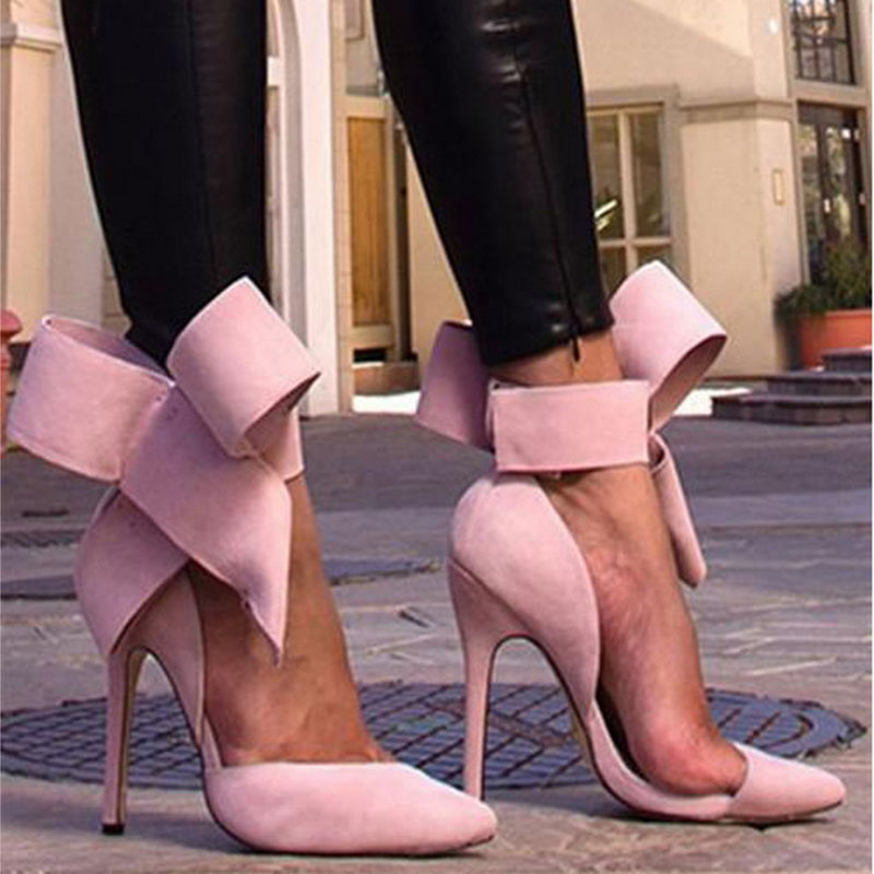 Plus Size Women High Heels Butterfly Pointed Toe Sexy Pumps Women Shoes Spring Summer Red Super High Ladies Wedding Shoes VT718