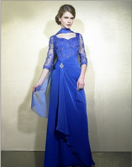Free Shipping 2016 New Design Vestidos De Festa Lace Beaded Long Blue Hl Party Evening Elegant Dresses Formal Gowns With Jacket