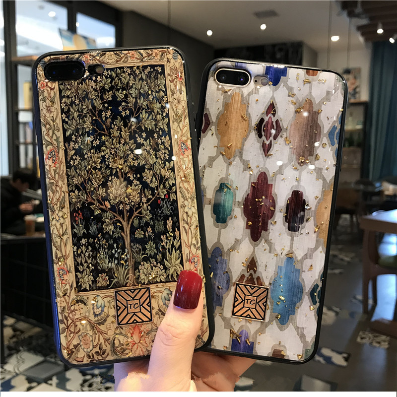 Luxury Brand Art Case For iPhone 7 8 6 6S Plus Glitter Gold Foil Retro Phone Case For iPhone X XS MAX XR Silicon Back Cover Capa in Fitted Cases from Cellphones Telecommunications