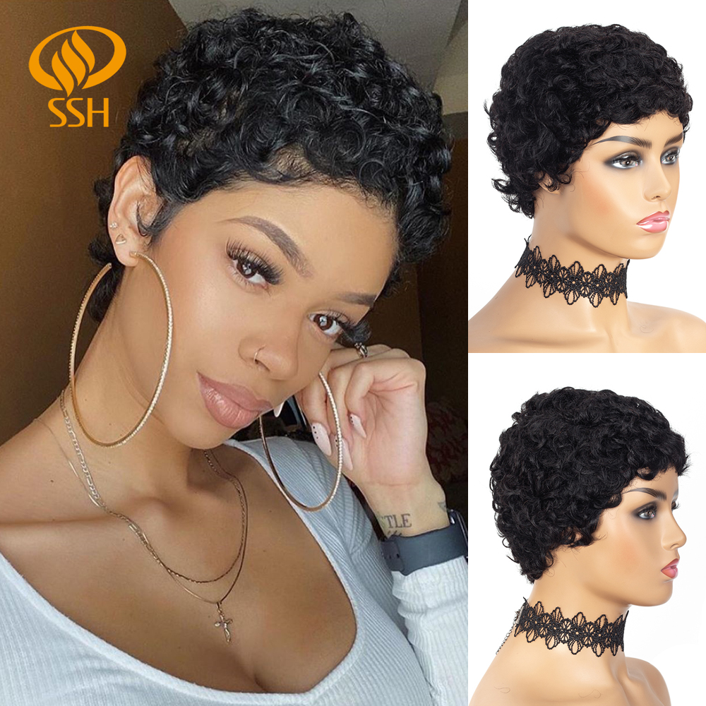 SSH Short Afro Curly Brazilian Cheap Human Hair Wigs For Black Women Remy Hair Full Wig For Women/ Lady