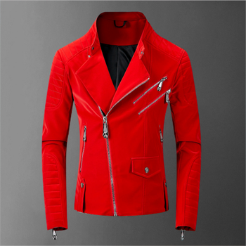 Helisopus Korean Mens Autumn Coat Faux Leather Motorcycle Jacket Zipper Stand Collar Casual Zippers Slim Fit Solid Color Jackets hanqiu leather jacket men winter autumn pu faux leather solid jackets slim fit zipper pocket stand collar casual men jacket