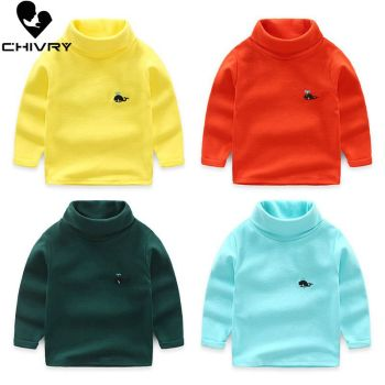 Chivry New 2020 Boys Girls Kids Fashion Solid Knit Pullover Sweater Tops Children Turtleneck Cartoon Whale Embroidery Sweaters 2016 new fashion girls sweaters 3 10years children sweater cartoon sweaters 1673