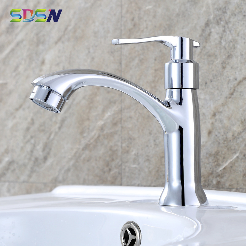 Single Cold Bathroom Faucet SDSN Polished Chrome Bathroom Mixer Tap Deck Mounted Single Cold Bathroom Basin Sink Faucets