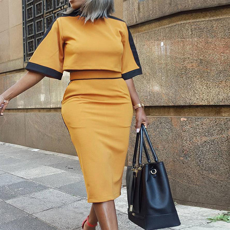 Black And Yellow Stitching Women 2 Piece Sets Color Block Short Sleeve Crop Top & Slinky Skirt Sets 2 Piece Outfits