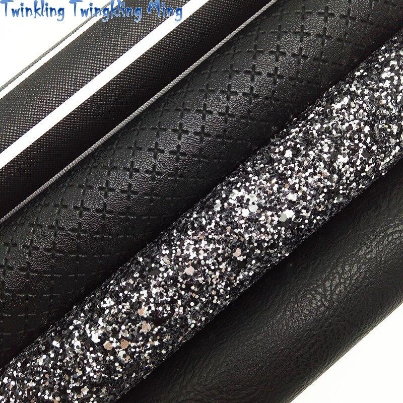 Черная блестящая ткань, тканая синтетическая кожа, полосатые печатные листы из искусственной ткани для банта A4 21x29 см мерцание Ming XM002L