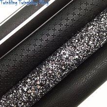 A tela preta do brilho, tecendo o couro sintético, listras imprimiu folhas da tela do falso para a curva a4 21x29cm cintilando ming xm002l
