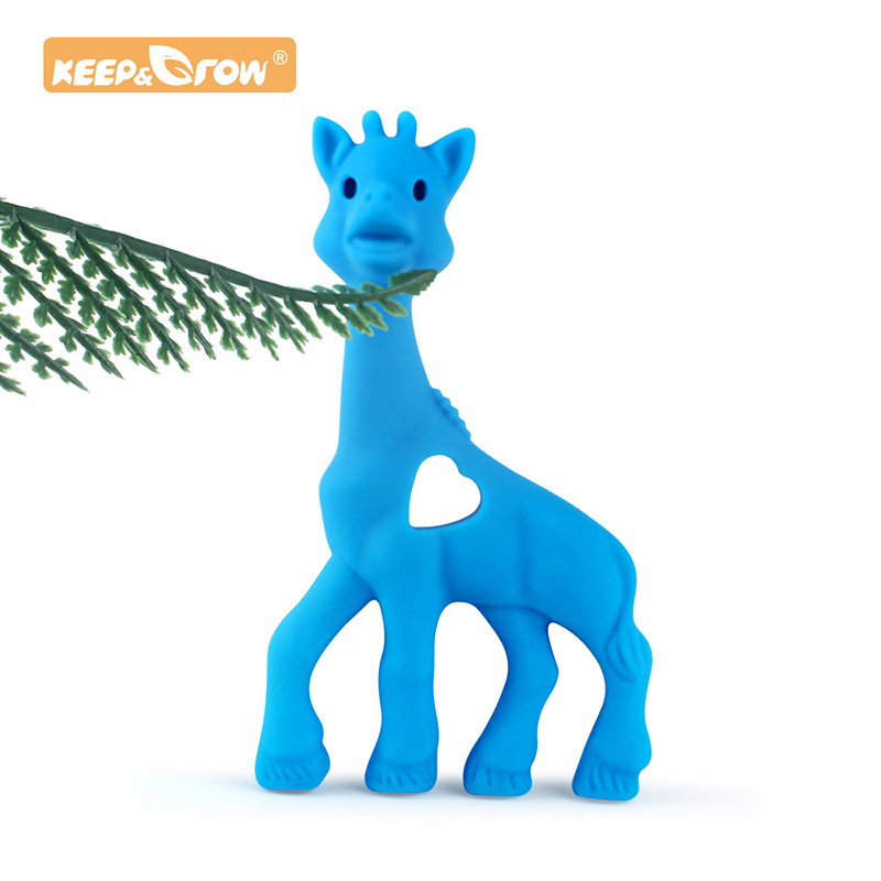 Keep&Grow 1pc Giraffe Silicone Teether Food Grade Beads DIY Animal Baby Necklace Teething Hanging Toy Teether Soft Baby Teething