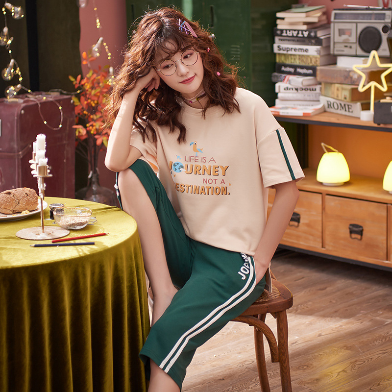 2019 Summer 6535 Sunken Stripe Pajamas WOMEN'S Suit Sweet Short Sleeve Capri Pants Tracksuit Piece 5550
