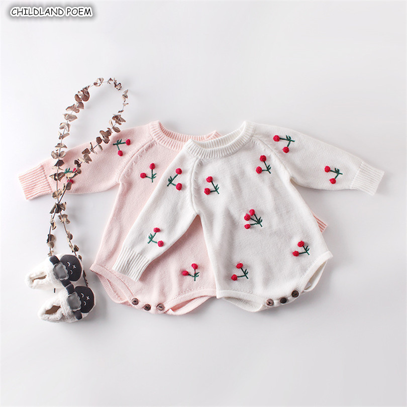 Baby Girl   Romper   Autumn Newborn Baby   Romper   Long Sleeve Knitted Baby Clothes Cotton Cherry Infant Baby Jumpsuit Girl Clothes