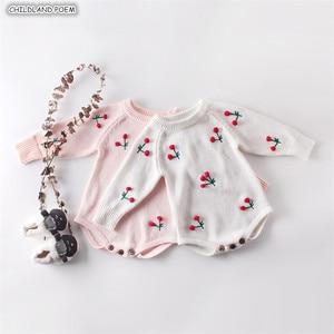Image 1 - תינוקת Romper סתיו יילוד תינוק Romper ארוך שרוול סרוג תינוק בגדי כותנה דובדבן תינוקות תינוק סרבל ילדה בגדים