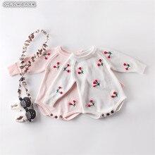 아기 소녀 romper 가을 신생아 아기 romper 긴 소매 니트 아기 옷 코튼 체리 유아 아기 jumpsuit 소녀 옷