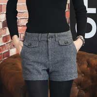 Korean Woll Shorts Frauen 2019 Winter Mini Kurze Hosen Feminino Herbst Zipper Up Tasche Tasten Plaid Boden Femme S-XL