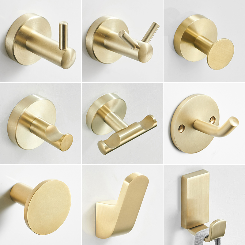 Brushed Gold Clothes Hook Stainless Steel Single Hook Wardrobe Wall Toilet Wall Single Hook For Bathroom Kitchen Towel Hook