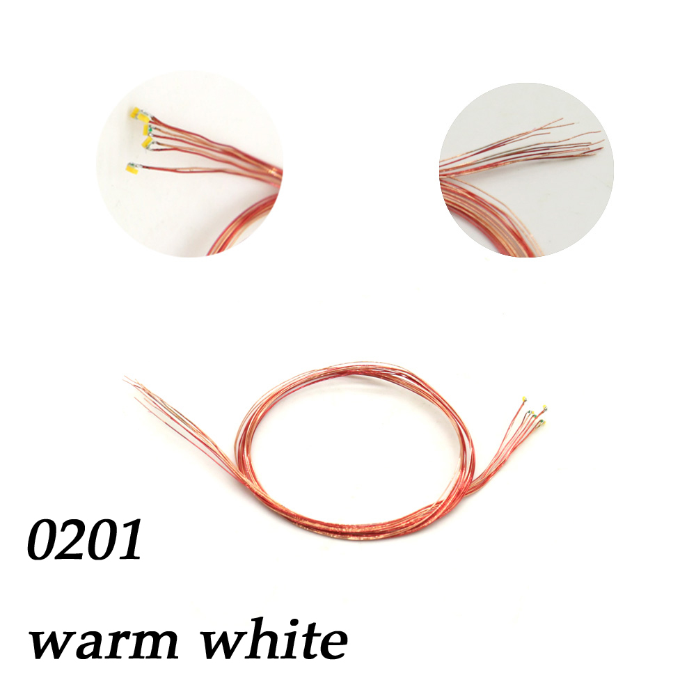 0201 Model Patch Light Warm White 0.8mm Copper Line SMD Light Sandbox Making Hand Lighting Diorama Landscape Toy DIY 5pcs