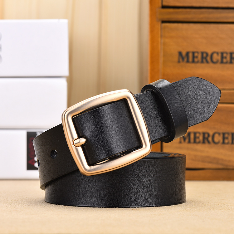 Female Genuine Leather Deduction Side Gold Pin Buckle Belts Women Jeans Wild Belts Fashion Students Simple New White Waist Strap