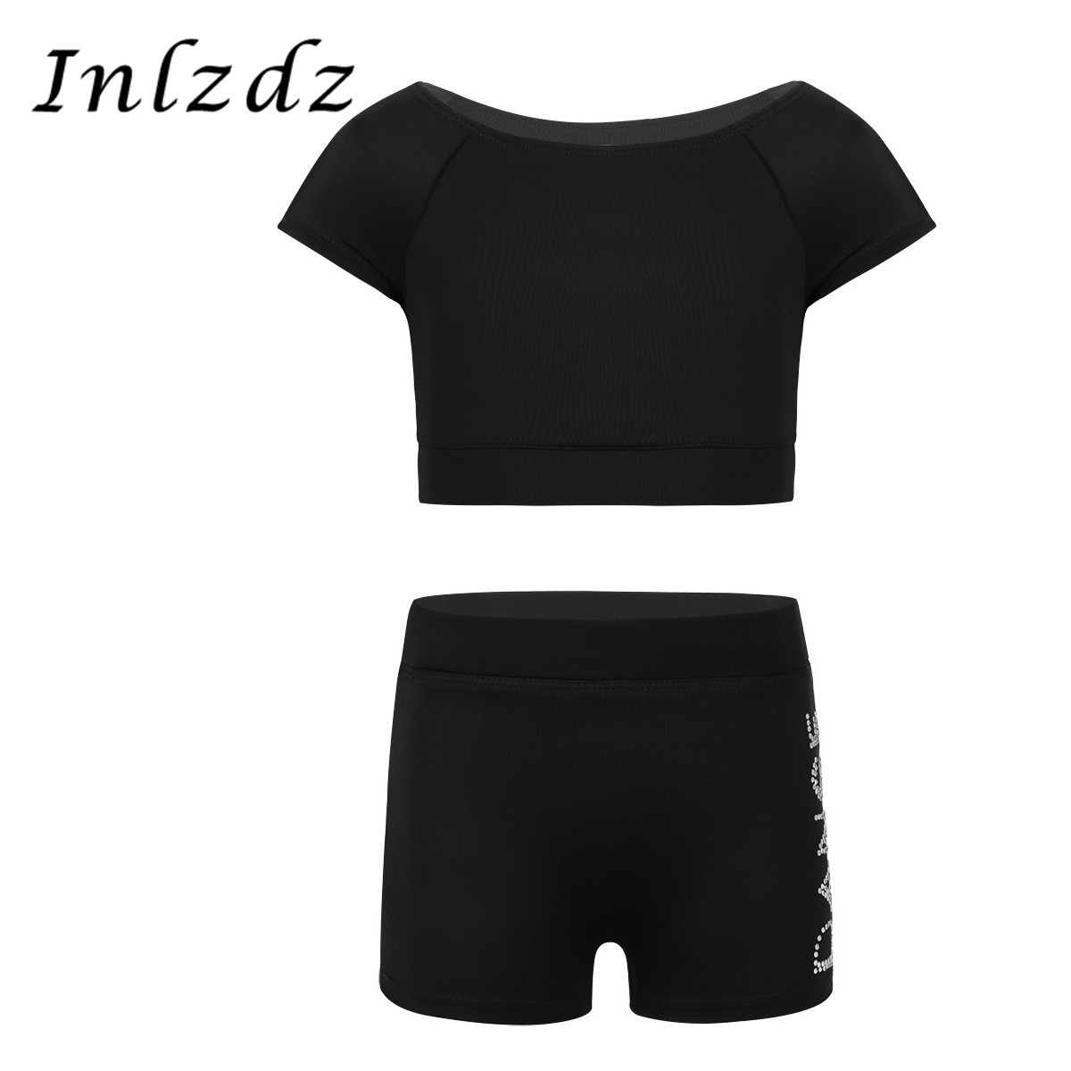 Kids Girls Tankini Swimsuit Outfit Short Sleeves Swimwear Tank Top With Letters Printed Bottoms Set Dancewear For Ballet Dance