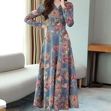Women V-neck Dress Long Sleeve Vintage Dress