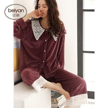 Full Sleeve Women's Pajamas Casual Cardigan Women's Velvet Autumn And Winter Suit