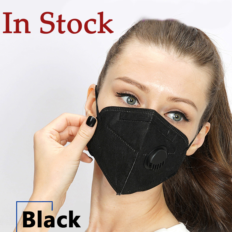 50Pcs KF94 Face Mask PM2.5 Filter N95 Masks With Breathing Valve FFP2 Mouth Cover Bacteria Proof Black KF94 Respirator