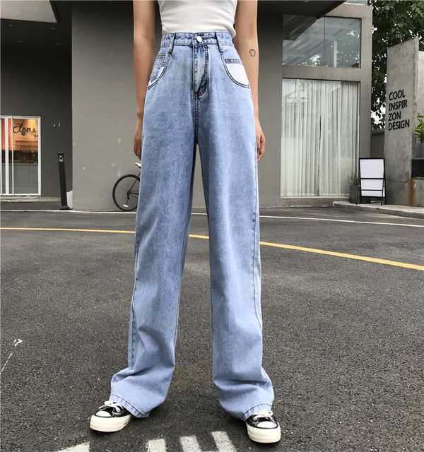 Vintage Wide Leg Woman Jeans for Women Mom High Waisted Jeans Blue Casual Long Trousers Korean Streetwear Denim Pants 2019Summer