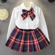 New Christmas Outfits Girls Clothing Sets Casual Dress Set Shirt Top Plaid Knot Tie Mini Skirt 3 Pcs Suits