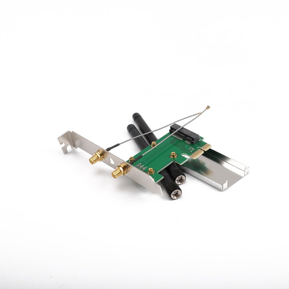 802.11n Mini Wireless WIFI PCI-E To Mini PCI PCI-E Wlan Adapter Expansion Network Card With 2 Aerials WiFi Converter