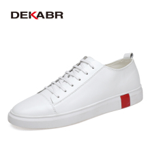 DEKABR White Men Casual Shoes Genuine Leather Male Sneakers Classic Me