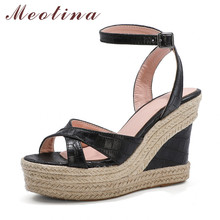 Meotina Ankle Strap Women Shoes Espadrille Platform Super High Heel Sandals Buckle Wedge Heels Footwear Lady Summer Sandals 43 annymoli sandals women platform wedge high heels shoes round toe buckle high heel footwear ladies summer sandals female beige