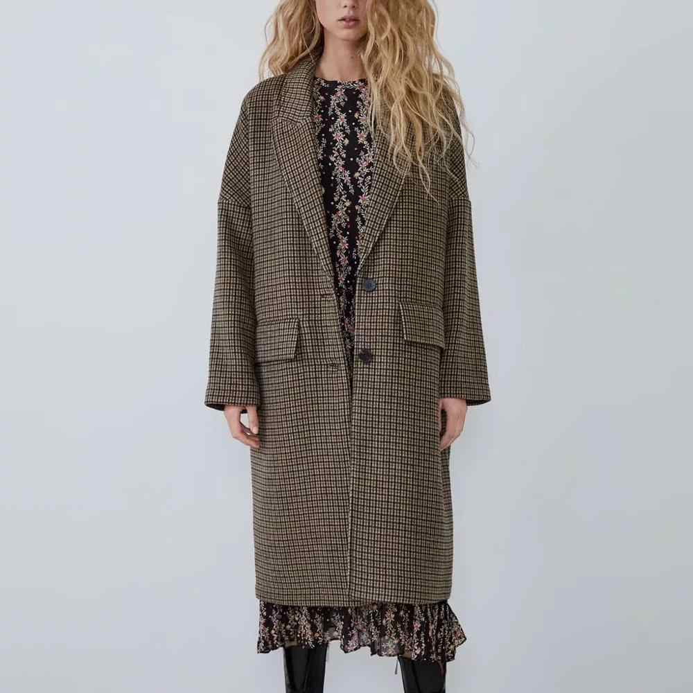 ZA autumn winter wool tweed coat women long style vintage plaid casual women's windbreaker Outerwear woolen trench parka female